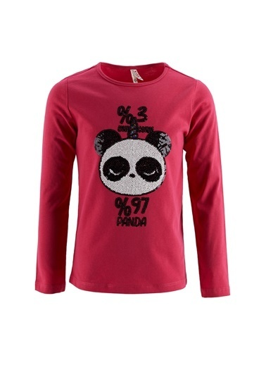 DeFacto Kız Çocuk Sevimli PandaPayet İşlemeli Tişört Nefti